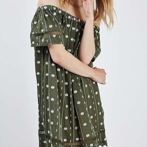 Topshop olive green off the shoulder dress